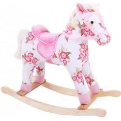 Bigjigs Dřevěný houpací kůň s květy