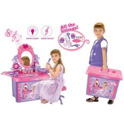 Dětský kosmetický stolek se zrcadlem a zvuky v kufru