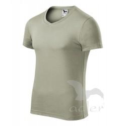 Tričko pánské SLIM FIT V-NECK světlá khaki