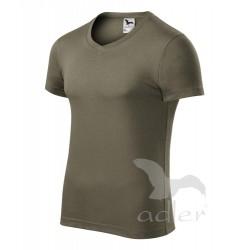 Tričko pánské SLIM FIT V-NECK army