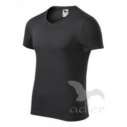 Tričko pánské SLIM FIT V-NECK ebony gray