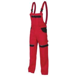 Pracovní kalhoty s laclem COOL TREND červeno-černé