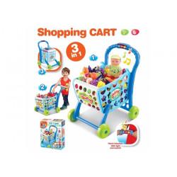 Hračka G21 Nákupní košík s melodií s příslušenstvím modrý