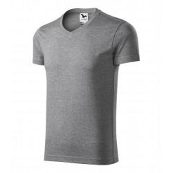 Tričko pánské SLIM FIT V-NECK tmavě šedý melír