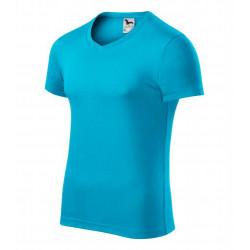 Tričko pánské SLIM FIT V-NECK tyrkysové