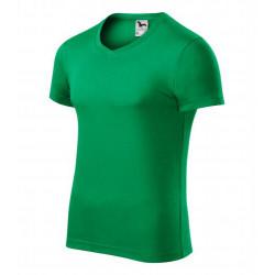 Tričko pánské SLIM FIT V-NECK středně zelené