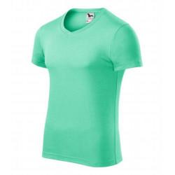 Tričko pánské SLIM FIT V-NECK mátové