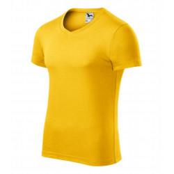 Tričko pánské SLIM FIT V-NECK žluté