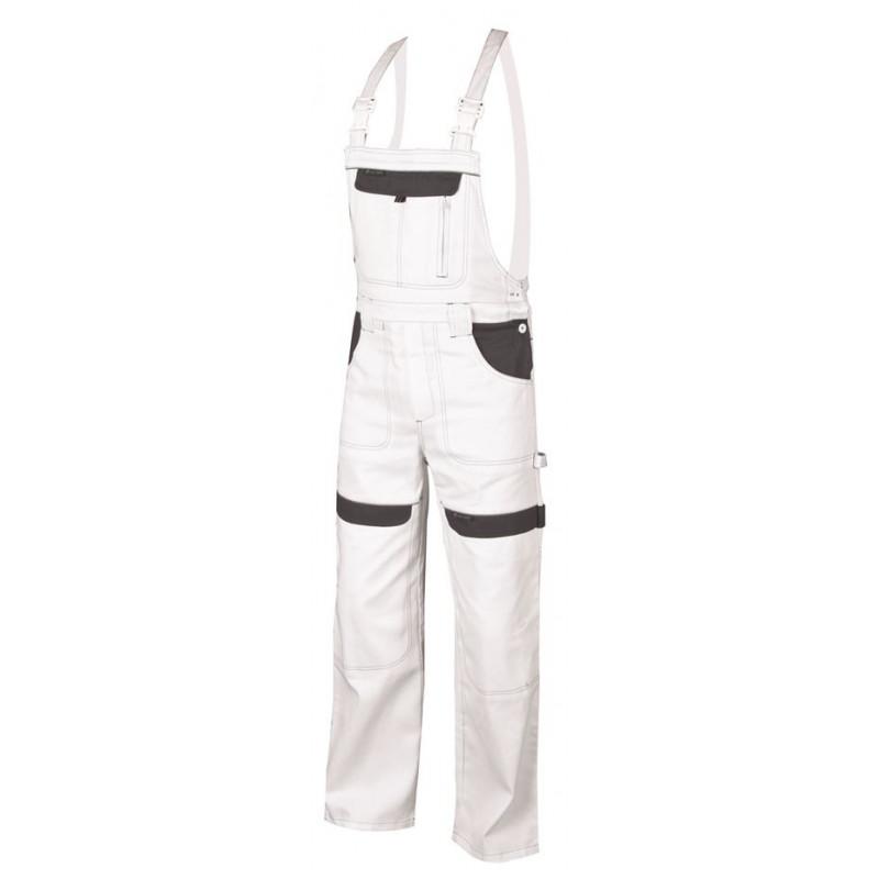 Pracovní kalhoty s laclem COOL TREND bílo-šedé 31b1908b2b