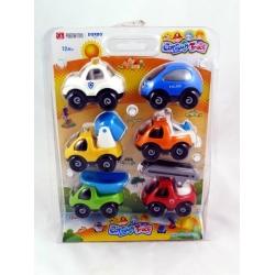 Sada 6 barevných vozidel na setrvačník