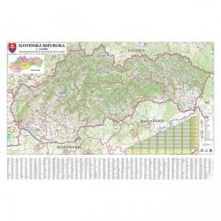 Mapa nástěnná SR -  silniční 200 x 132 cm