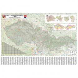 Mapa nástěnná ČR + SR -  silniční 200 x 140 cm