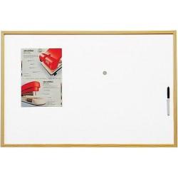 Bílá magnetická tabule - 90x60 cm - dřevěný rám
