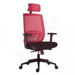 Židle kancelářská ABOVE černá látka / vínová síť