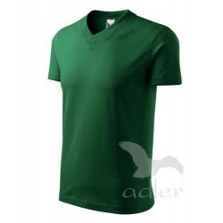 Tričko pánské V-NECK lahvově zelené